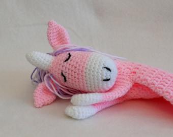 Pink unicorn ragdoll (handmade crochet item)