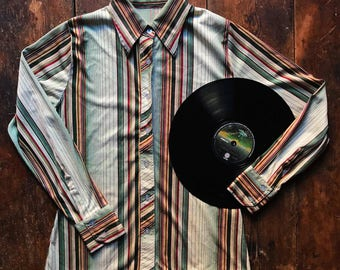 Vintage 70's Hand Made Retro Striped Button Down Blouse