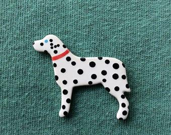 Dalmatian Brooch, Dog Brooch, dog gifts, handmade brooch, ceramic brooch, polka dot, Cute Brooch, Mothers Day Gift.