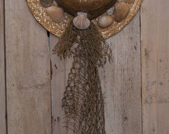 Seaside Wreath // Straw Hat Wreath // Front Door Wreath // Sea Shell Wreath // Cottage Wreath // Ocean Wreath // Hat Wreath // Beach House