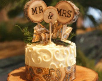 Rustic Mr. & Mrs. cake topper or flower center piece