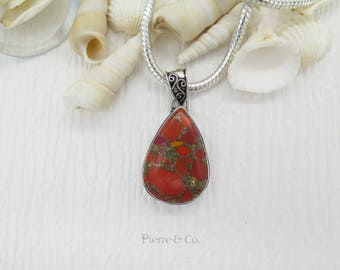 Red Copper Turquoise Sterling Silver Pendant and Chain