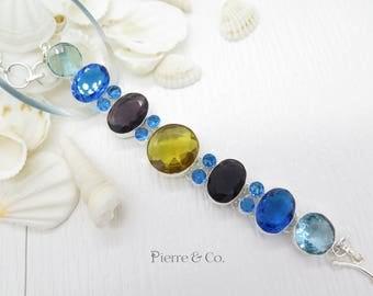 Blue Topaz Citrine Amethyst Sterling Silver Bracelet