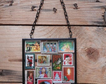 Framed red/green Christmas stamp wall art - Christmas gift - stamped art -