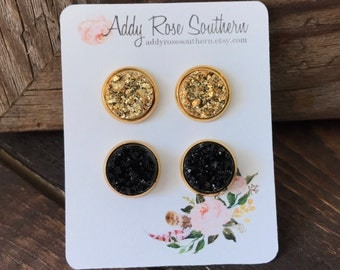 12mm gold druzy earrings, druzy studs, druzy earrings, gold druzy, black druzy