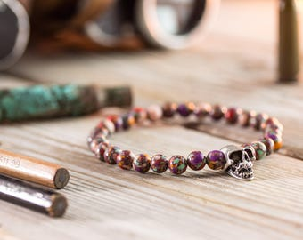 6mm - Pinkish colorful beaded bracelet with silver skull bead, skull bracelet, mens bracelet, womens bracelet, beaded bracelet