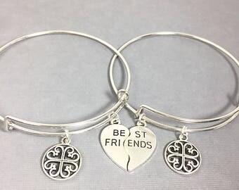 Best Friend Bangle Bracelet, Best Friend Charm Bracelet, Friendship Jewelry, Bracelet set of 2,  Friends Forever,Personalized,Custom,Initial
