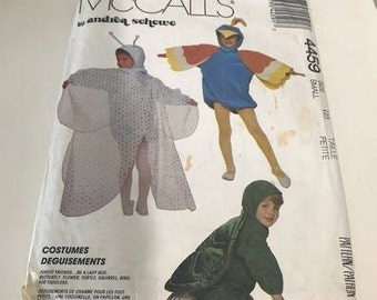Sz 2 Toddler to Size 6 McCall's 4459 Vintage Toddler Costumes Pattern of Butterfly, Flower, Turtle, Squirrel, and a Bird by Andrea Schewe