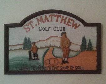 Vintage Golf Picture Hand-Made Hand-Painted Wall Plaque St. Matthew Golf Club Hand Carved Raised Wooden Figurines
