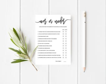 """Over or Under Wedding Shower Game   Editable   Printable Wedding Shower Game   Template   Instant Download   5x7""""   No. EDN 5502"""