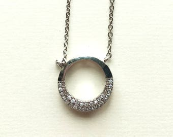 Silver Circle Necklace with Crystals