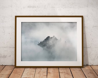 Nordic Mountain, Foggy Art Print, Mint Mountains, Foggy Forest, Foggy Forest Print, Foggy Forest Art, Above Bed Decor, Misty Forest Print