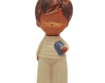 Stoneware Boy with Book Figurine (Made in Japan) Free Domestic Shipping