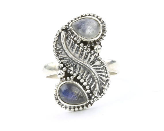 Sweet Wishes Ring, Sterling Silver Moonstone And Labradorite Ring, Leaf Ring, Gemstone Jewelry, Boho, Gypsy, Wiccan, Hippie, Spiritual