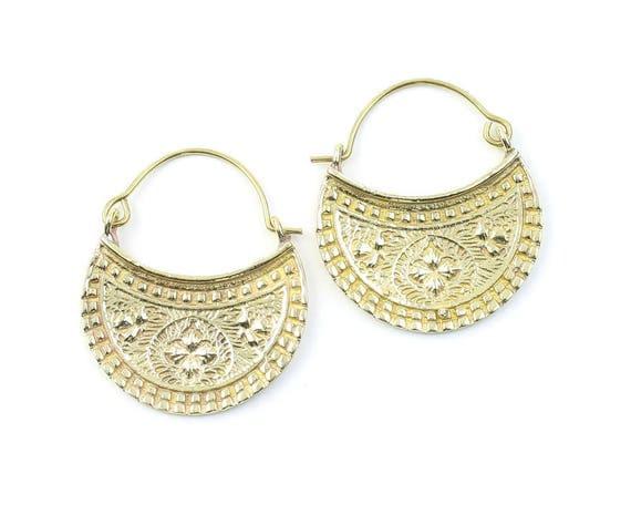 Vyas Earrings, Ornate Ethnic Earrings, Tribal Brass Earrings, Festival Earrings, Gypsy Earrings, Hoop Earrings