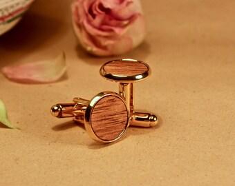 Gold Natural Wooden Cufflinks, Native Tasmanian Blackwood, Orange oil, Handmade Gift, Groomsman Groom, Wedding, Personalized, Elegant