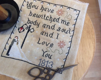 Pattern Cross Stitch, Bewitched Me pattern, Primitive pattern, Jane Austen inspired, Vintage, Pride and Prejudice, Cross Stitch