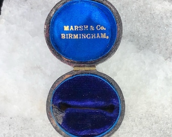 Antique Victorian Edwardian Leather Ring Box Blue Velvet Signed UK Jeweler Wedding Engagement