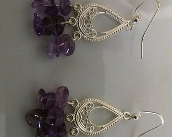 Amethyst Chandelier Silver Earrings