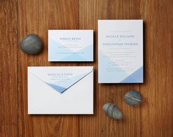 Modern Blue Watercolor - Custom Letterpress Wedding Invitations Stationery Suite, Deposit Only