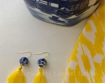 Chinoiserie Tassel Earrings | YELLOW, stacked, tiered, blue and white, gold, Chinese, statement earrings