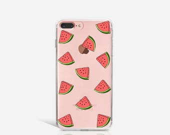iPhone 6 Case Watermelon, Soft iPhone 6s Case, iPhone 5s Case Clear with Design, iPhone SE Case, iPhone 5 Case Rubber Christmas Gift - KT073