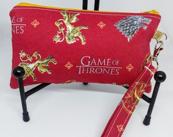Game of Thrones Wristlet-GoT Sigils-Clutch-Westeros-Zippered Pouch-OOAK-Ready to Ship