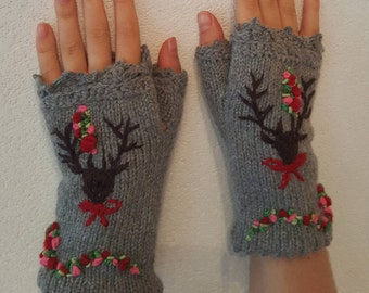 Hand knitted Fingerless Gloves Mittens Deer Alps Bavarian style embroidered Winter lace