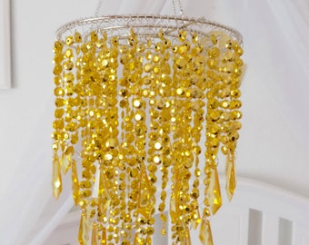 Gold Baby Mobile, Party Chandelier Crystal Princess, Hanging Chandelier Also Available in Clear