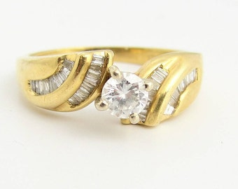 Wrapped Solitaire Diamond Engagement Ring- 14k Yellow Gold