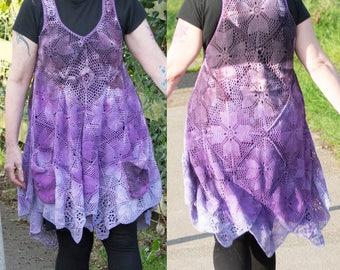 Antimacassar Tunic Purple Boho Hippy Crochet