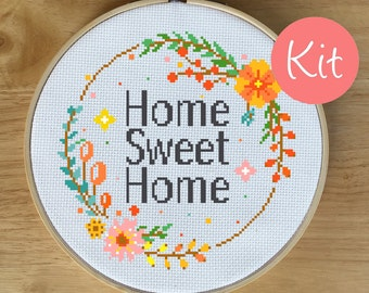 Modern Decor Cross Stitch Kit - Home Sweet Home - Flower Wreath - Floral Decor Cross Stitch - Home Counted Cross-Stitch Kit, Colorful