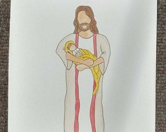 Infant Loss, Miscarriage Awareness, Savior Watercolor Sketch