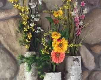 white birch floor vases