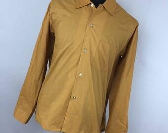 Designers Choice L Large 16 16.5 35 Gold Golden Shirt Button Down Front Men's Long Sleeve A1