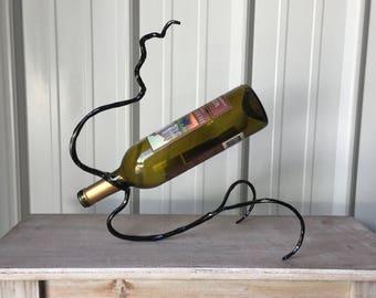 Metal Wine Bottle Holder, Blacksmith, 6th Anniversary Gift of Iron, Wine Bottle Decor, Wine Bottle Display, Wine Bottle Holder, Wine Decor