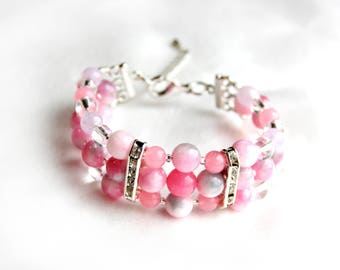 """Bracelet from tourmaline """"Pink clouds"""""""