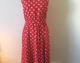 Vintage 90's red and white polka dot tank top dress