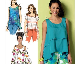 Sewing Pattern for Misses' Double-Layer, Cold-Shoulder or Notch-Neck Tops, Butterick Pattern 6355, , Plus Sizes Avail,  Hi-Low Hem Tops