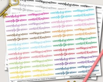 Essential Headers Planner Stickers | Header Planner Stickers | Watercolour Stickers | Reminders stickers