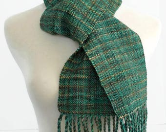 green hand woven wool scarf, St Patrick's Day, winter scarf, Christmas gift idea, hand made by SpunWool