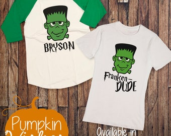 Halloween Raglan Shirt/Frankenstein Raglan/Halloween Shirt/Halloween Raglan/Fall Raglan/Boy Halloween Shirt/Personalized Boy Shirt