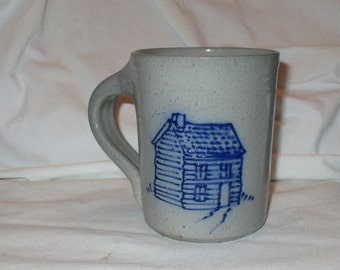 Vintage Eldreth Pottery Salt Glaze Log Cabin Mug