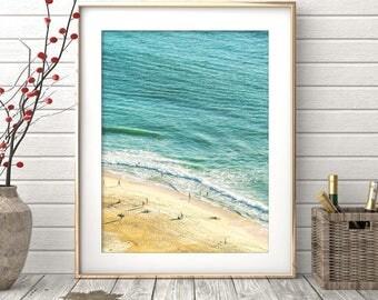 Beach Print, Contemporary Beach Wall Art, Digital Download,Sea Poster, Aerial Beach Print, Busy Beach Poster, Modern Beach Photography, Sand