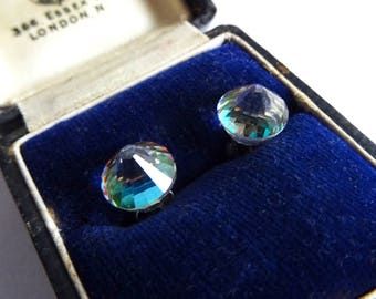 Austrian Crystal Earrings, Sterling Silver Studs, Pierced Ears