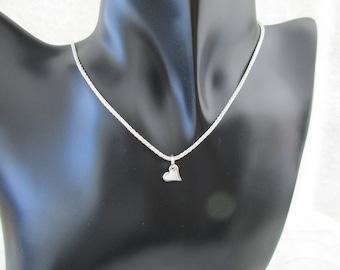 Delicate Sterling Silver Heart Pendant or Charm (pbc8)