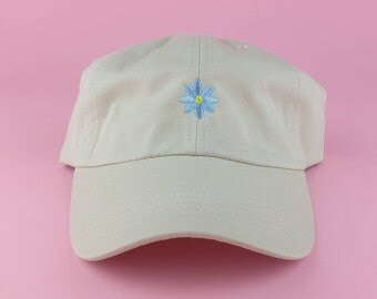 Blue Flower Hat - Tan Embroidered Dad Hat - Polo Hat - Curved Brim Six Panel Fabric Strap Hat - Cute Sunflower Floral Flower Hat - Gucci New