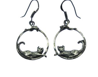 Sterling Silver Cat Earrings, Sterling Silver Hoop Earrings, Sterling Silver Dangle Earrings, Silver Cat and Mouse Earrings