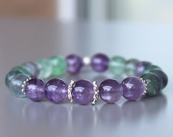 Amethyst Fluorite Sterling Silver Bracelet, Fluorite Bracelets, Amethyst Jewelry, Gifts for her, Birthday gifts, Gemstone Jewelry, Bracelets
