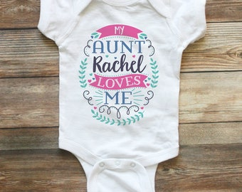 My auntie loves me shirt my aunt loves me custom baby my aunt loves me shirt or baby bodysuit personalized baby clothes girl baby shower negle Image collections